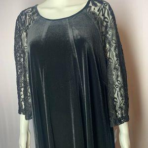 Gabby Skye velvet dress, 3/4 lace sleeves 22w